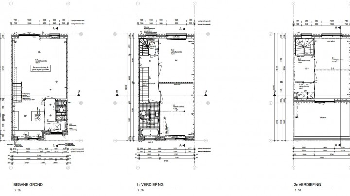 blueprints three story terrace house